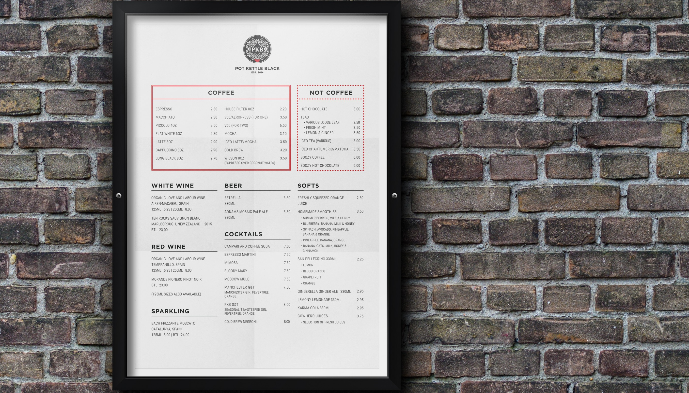 Barton Arcade Manchester, the menu for Pot Kettle Black whose website we created