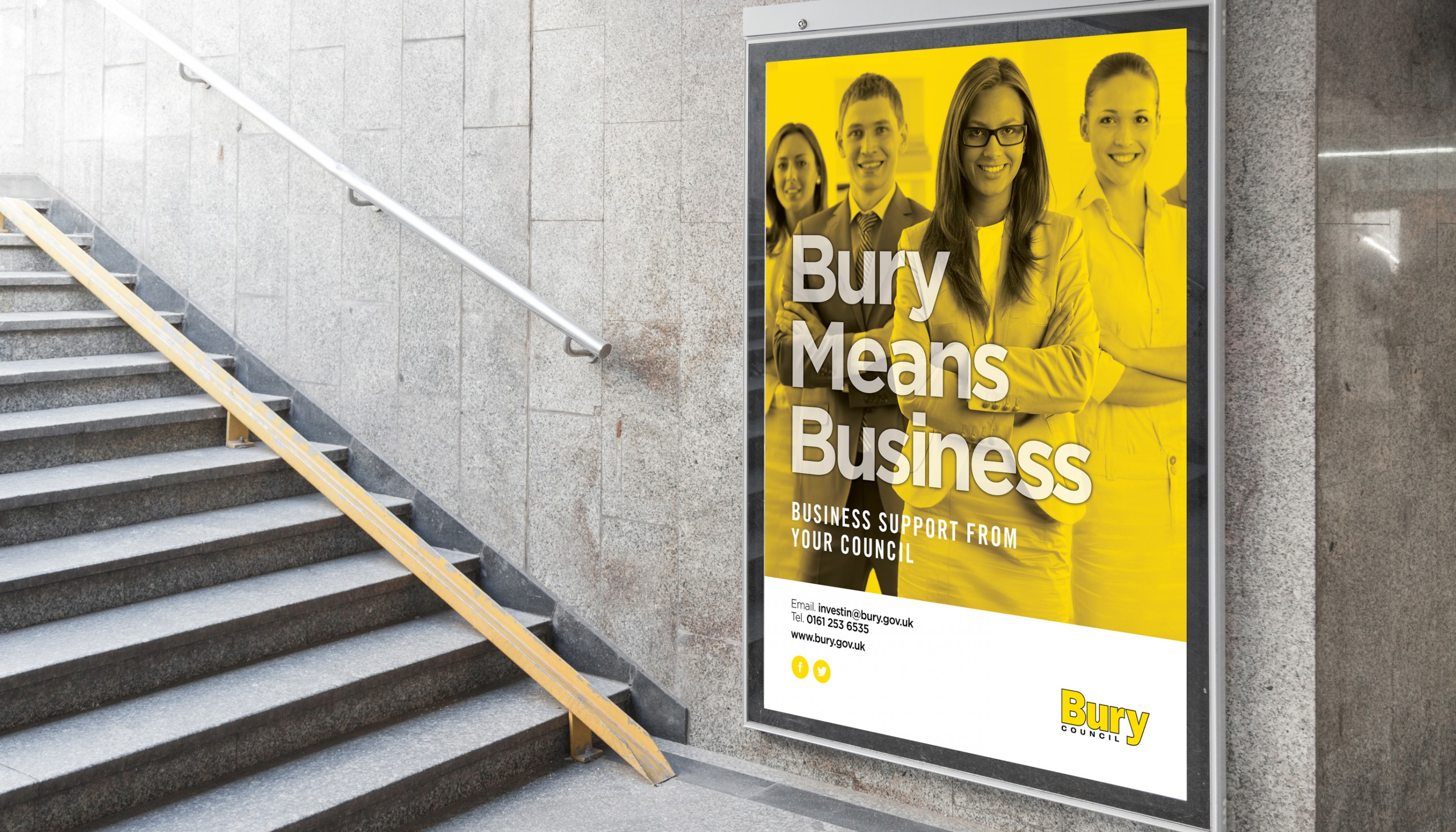 creative design and print for Bury Council, the poster is located in underground hall