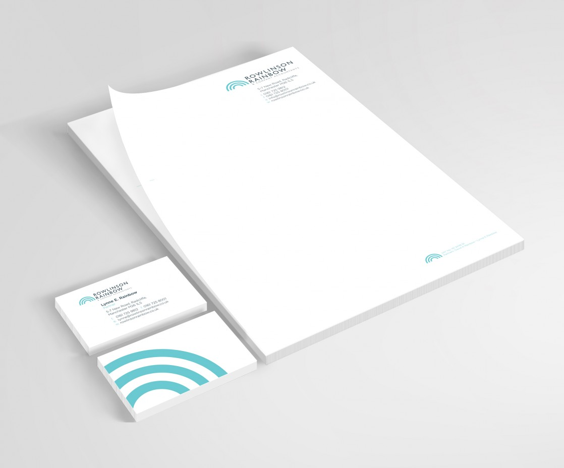 Letterheads and cards designed and printed for Radcliffe Accountants, Rowlinson Rainbow by local printing company Hypa Concept
